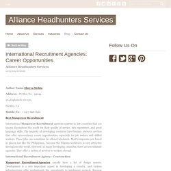 International Recruitment Agencies: Career Opportunities - Alliance Headhunters Services : powered by Doodlekit