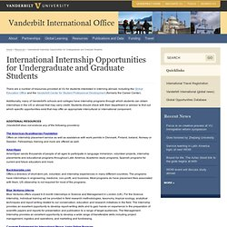 International Internship Opportunities for Undergraduate and Graduate Students