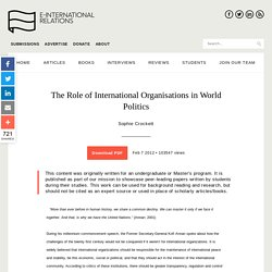 The Role of International Organisations in World Politics