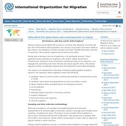 Gallup World Poll: global desire, plans and preparation to migrate - International Organization for Migration