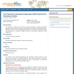 UNU Fellowship in International Organizations MBA Programme for Developing Countries
