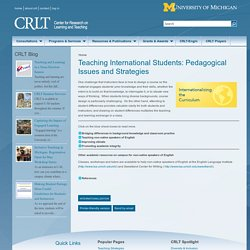 Teaching International Students: Pedagogical Issues and Strategies
