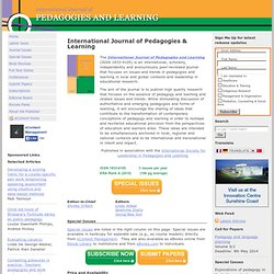 International Journal of Pedagogies & Learning - International Journal of Pedagogies & Learning