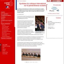 Synthèse du colloque international sur la persévérance scolaire