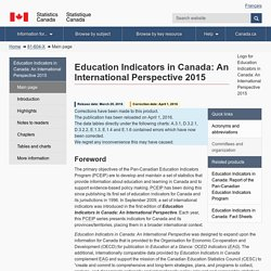 Education Indicators in Canada: An International Perspective 2015