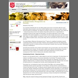 International Social Justice Commission: A Social Justice Perspective on Poverty