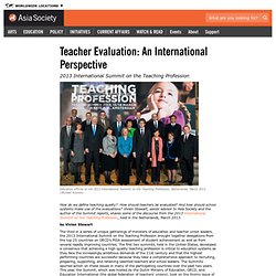 Teacher Evaluation: An International Perspective