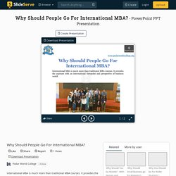 Why Should People Go For International MBA?