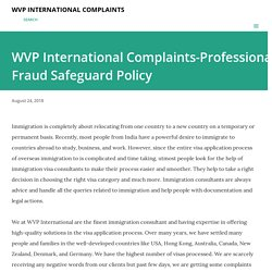 WVP International Complaints-Professional Fraud Safeguard Policy