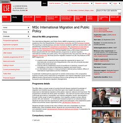 MSc International Migration and Public Policy - Taught Programmes 2016