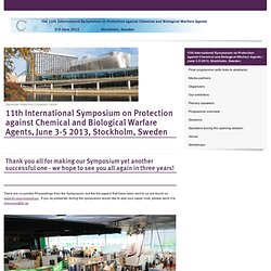 11th International Symposium on Protection against Chemical and Biological Warfare Agents, June 3-5 2013, Stockholm, Sweden