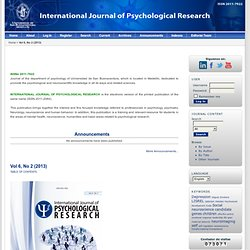 international journal of psychological studies Keep a look out here for calls for papers for ijp special sections call for papers:special section on prevention science in the international journal of psychology read more here call for papers: special section on cross-cultural value mismatch: a byproduct of migration and population diversity.