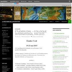 Étudier l'exil— Colloque international, mai 2015