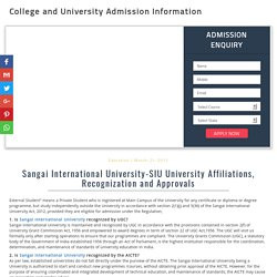 Sangai International University-SIU University Affiliations, Recognization and Approvals - 2017-18