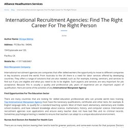 International Recruitment Agencies: Find The Right Career For The Right Person - Alliance Headhunters Services