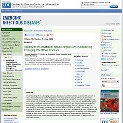 CDC EID – JUILLET 2012 - Validity of International Health Regulations in Reporting Emerging Infectious Diseases