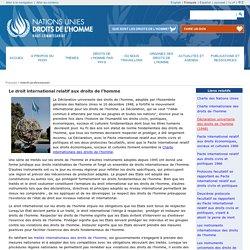 Le droit international relatif aux droits de l'homme
