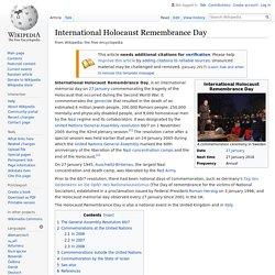 International Holocaust Remembrance Day - 27jan