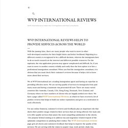 Wvp International Reviews Helps To Provide Services Across The World