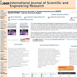 IJSER, International Journal of Scientific and Engineering Research