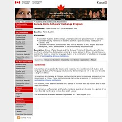 International Scholarships - Canada-China Scholars' Exchange Program