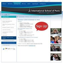 International School of Paris: Summer 2016 Schedule & Fees