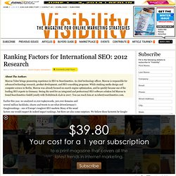 Article - Ranking Factors for International SEO: 2012 Research By Marcus Tober, Searchmetrics