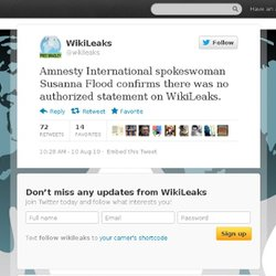 WikiLeaks: Amnesty International spok