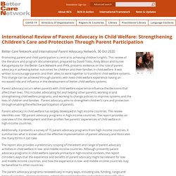 International Review of Parent Advocacy in Child Welfare: Strengthening Children's Care and Protection Through Parent Participation