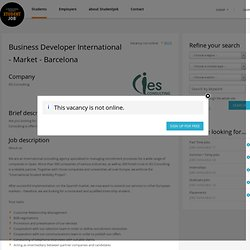 Business Developer International - Market - Barcelona - StudentJob.co.uk