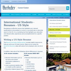 International Students - Resumes - US Style