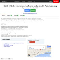 ICSWaP 2016 : 1st International Conference on Sustainable Water Processing