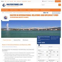 Master in International Relations and Diplomacy (MIR), Geneva, Switzerland 2016