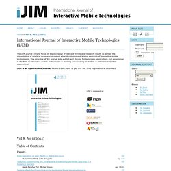 International Journal of Interactive Mobile Technologies (iJIM)