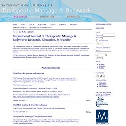 IJTMB: International Journal of Therapeutic Massage & Bodywork (Peer-reviewed)