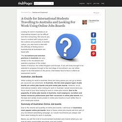 A Guide for International Students Travelling to Australia and Looking For Work Using Online Jobs Boards