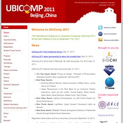 13th ACM International Conference on Ubiquitous Computing