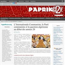 L'Internationale Communiste, le Parti communiste et la question algérienne au début des années 20