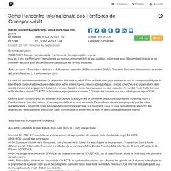 Belgique : 3ème Rencontre Internationale des Territoires de Coresponsabilité