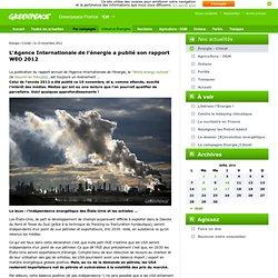 L'Agence Internationale de l'énergie a publié son rapport WEO 2012