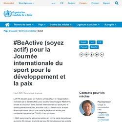 #BeActive (soyez actif) pour la Journée internationale du sport pour le développement et la paix
