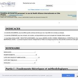 Condition de travail du personnel: le cas de Health Alliance Internationale en Côte d'Ivoire - Saint Michel Fabrice Gouaméné