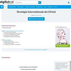 L'Oréal : stratégie internationale, exposé à télécharger gratuitement