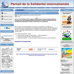 """La conférence """"Killer App"""" dans l'agenda de la Solidarité Internationale"""