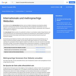 Internationale und mehrsprachige Websites - Webmaster-Tools-Hilfe