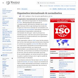 Organisation internationale de normalisation