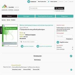 « Soins palliatifs pédiatriques : l'influence des cultures » Revue internationale de soins palliatifs 2013/4
