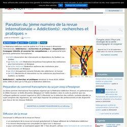 """Parution du 3ème numéro de la revue internationale """"Addiction(s) : recherches et pratiques"""""""