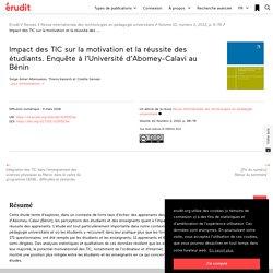 Impact des TIC sur la motivation et la réussite d… – Revue internationale des technologies en pédagogie universitaire