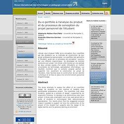 Du e-portfolio à l'analyse du produit et du processus de concept